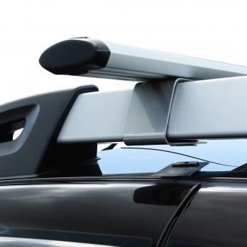 Багажник на рейлинги Renault Duster серебристые опоры аэродинамические поперечины 2015-